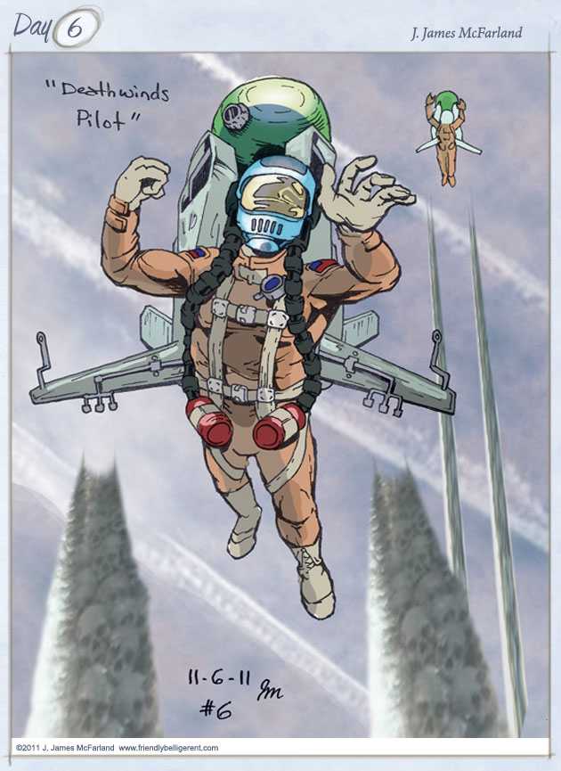 A genocidal pilot with a jetpack who sprays towns.