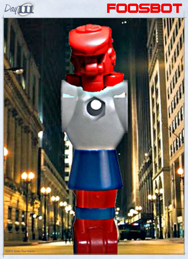 The bastard offspring of a late-night, rec room tryst, he was an outcast. Now FoosBot kick-punches terror into the heart of the city!