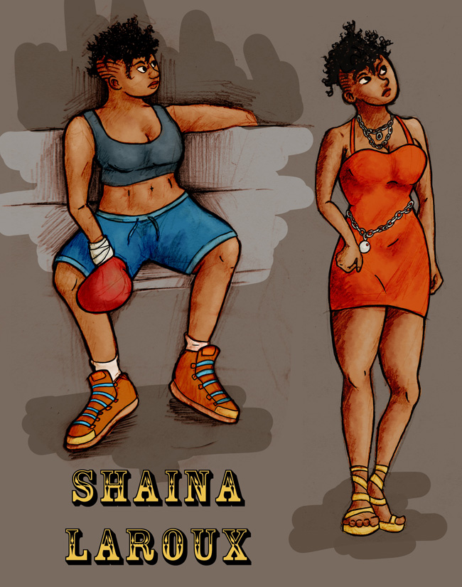 Two drawings of a black woman with a mohawk: in one, she is standing in a short red dress, looking annoyed. In the other, she is sitting on a bench wearing boxing gloves, a sports bra and shorts.
