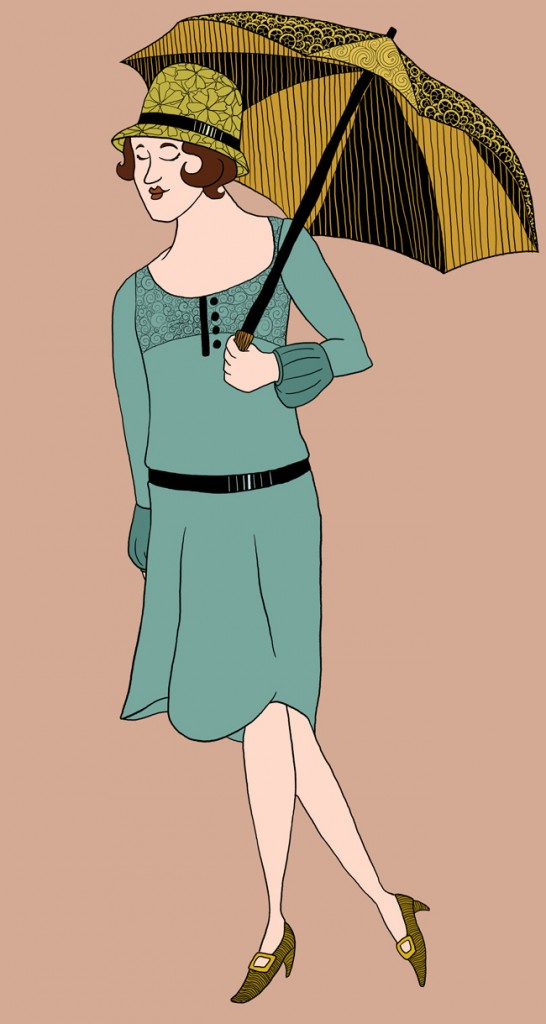 A woman wearing a hat with a flower pattern, and holding a parasole. She is also wearing a dress with a low belt and puffy sleeves.