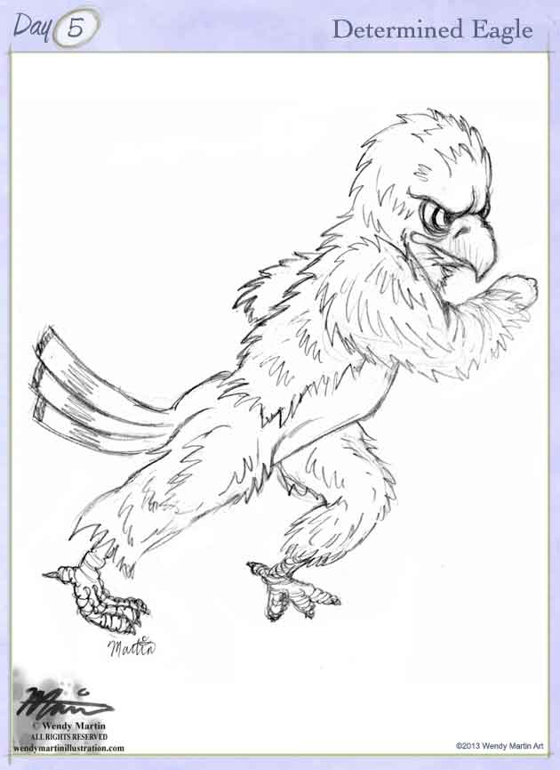 determined eagle sketch by Wendy Martin