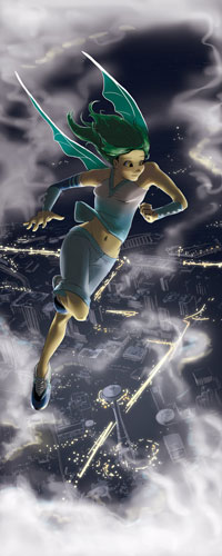 Michelle flying over the City