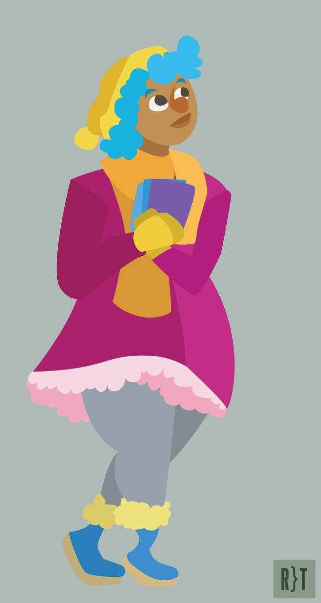 A curvy girl with light brown skin. She is wearing a pink coat with ruffles at the bottom, grey tights, and yellow mittens, scarf, and hat. She is holding three books.