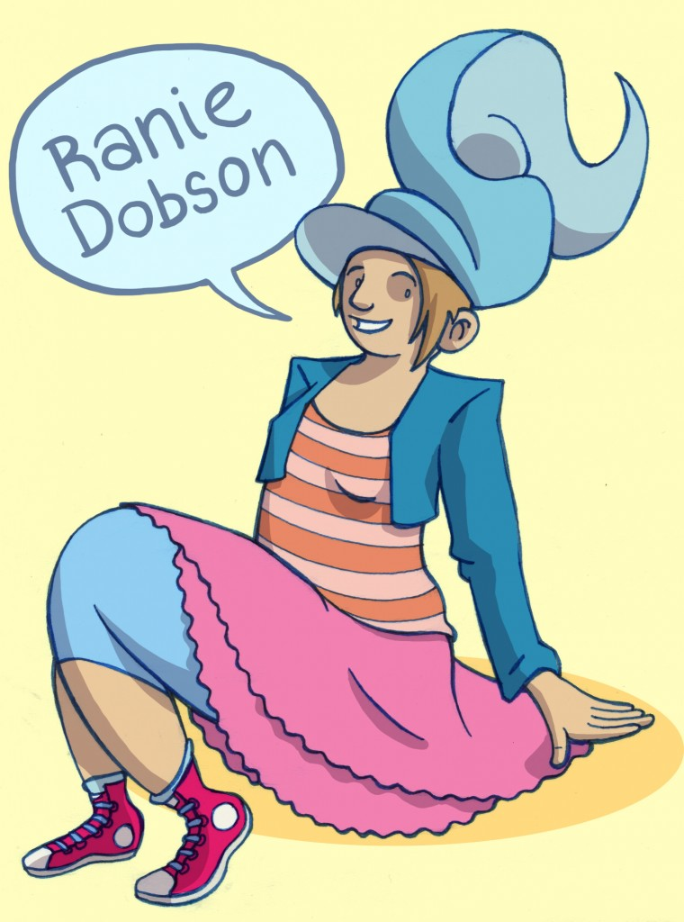 A woman sitting on the ground. She has a large spiral hat on, and slightly mismatched clothing.