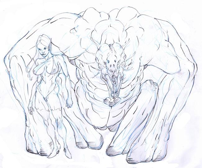 Dotha the warlock and stone troll