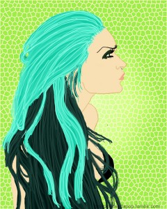 bluehaired profile colored small